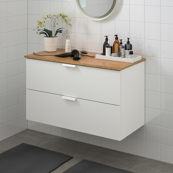 GODMORGON / TOLKEN Wash-stand with 2 drawers, white/bamboo, 102x49x60 cm