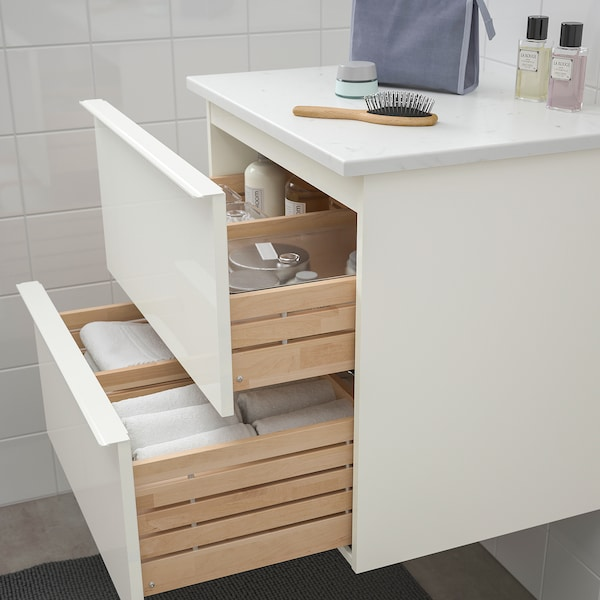 GODMORGON / TOLKEN wash-stand with 2 drawers high-gloss white/marble effect 62 cm 49 cm 60 cm