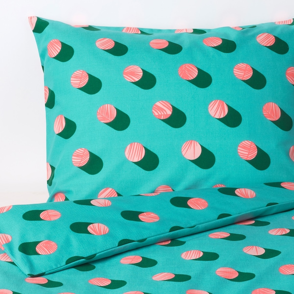 GRACIÖS Quilt cover and pillowcase, dotted/pink turquoise, 150x200/50x80 cm