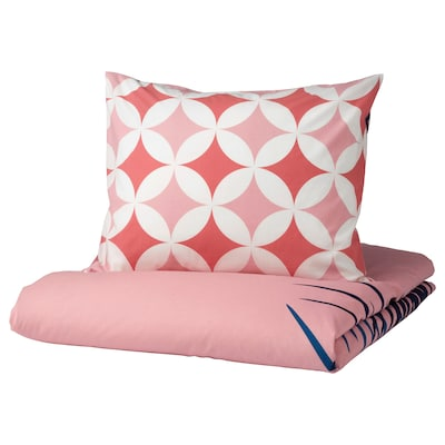 GRACIÖS Quilt cover and pillowcase, tile pattern/pink, 150x200/50x80 cm