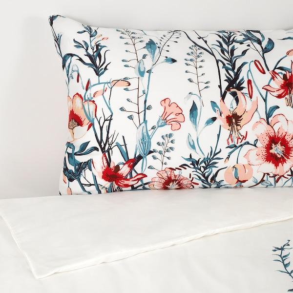 GRODTÅG Duvet cover and pillowcase, white/floral patterned, 150x200/50x80 cm