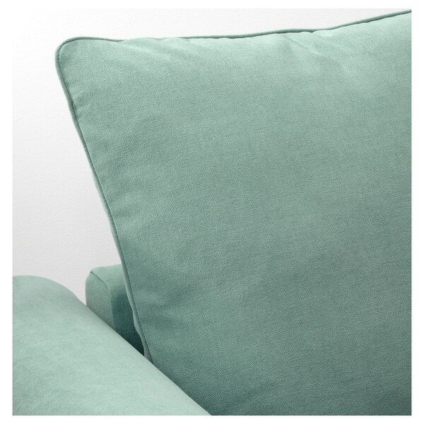 GRÖNLID 3-seat sofa-bed with chaise longue, Ljungen light green