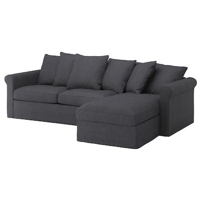 GRÖNLID 3-seat sofa-bed, with chaise longue/Sporda dark grey