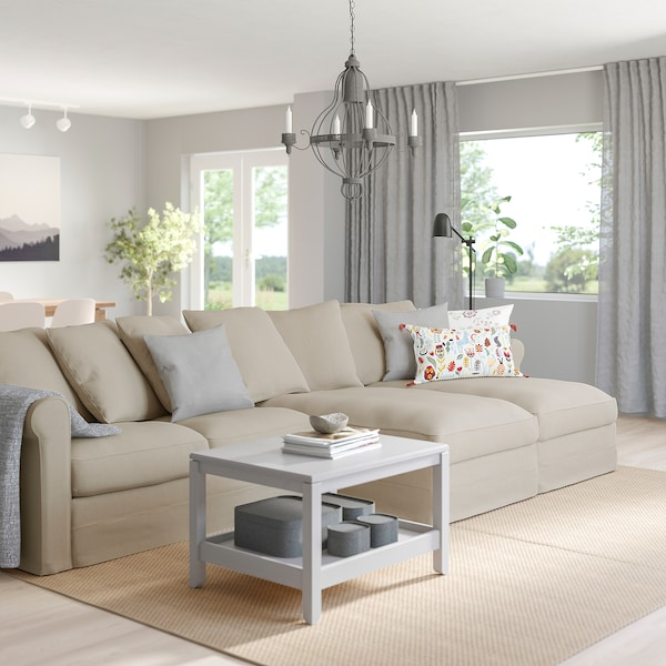 GRÖNLID 4-seat sofa, with chaise longues/Sporda natural