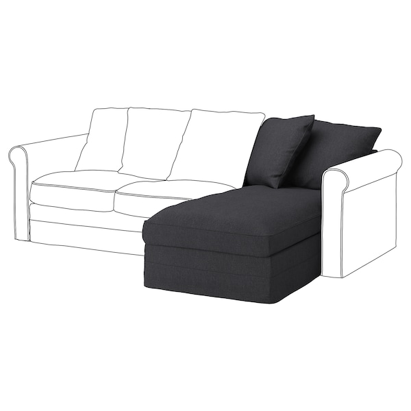 GRÖNLID Chaise longue section, Sporda dark grey