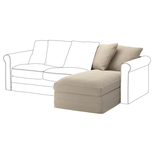 GRÖNLID chaise longue section Sporda natural 104 cm 68 cm 81 cm 164 cm 7 cm 81 cm 126 cm 49 cm 190 l