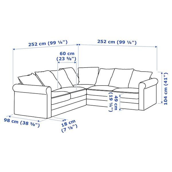 GRÖNLID corner sofa, 4-seat Ljungen medium grey 104 cm 98 cm 252 cm 252 cm 7 cm 18 cm 68 cm 60 cm 49 cm