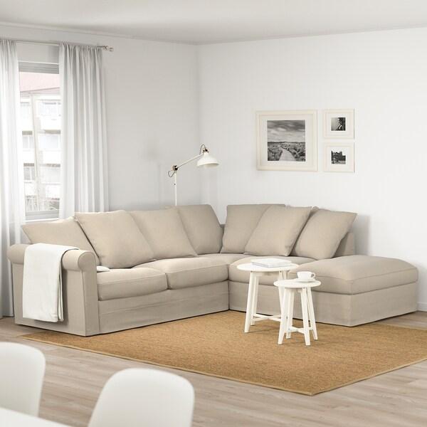 GRÖNLID Corner sofa, 4-seat, with open end/Sporda natural