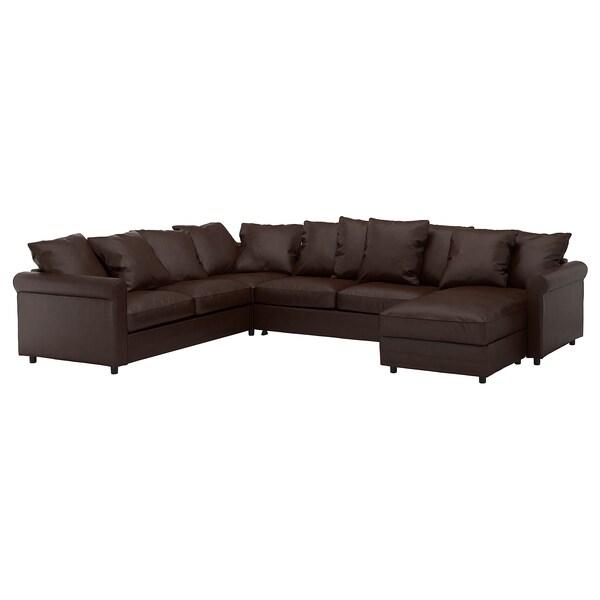 GRÖNLID كنبة-سرير زاوية، 5 مقاعد, مع أريكة طويلة/Kimstad بني غامق