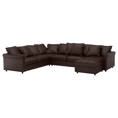 GRÖNLID Corner sofa-bed, 5-seat, with chaise longue/Kimstad dark brown