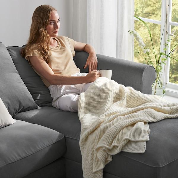 GRÖNLID كنبة-سرير زاوية، 5 مقاعد, مع أريكة طويلة/Ljungen رمادي معتدل