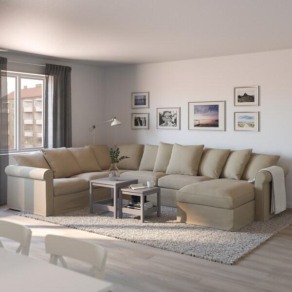 GRÖNLID كنبة-سرير زاوية، 5 مقاعد, مع أريكة طويلة/Sporda طبيعي
