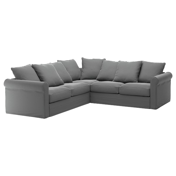 GRÖNLID cover for corner sofa, 4-seat Ljungen medium grey