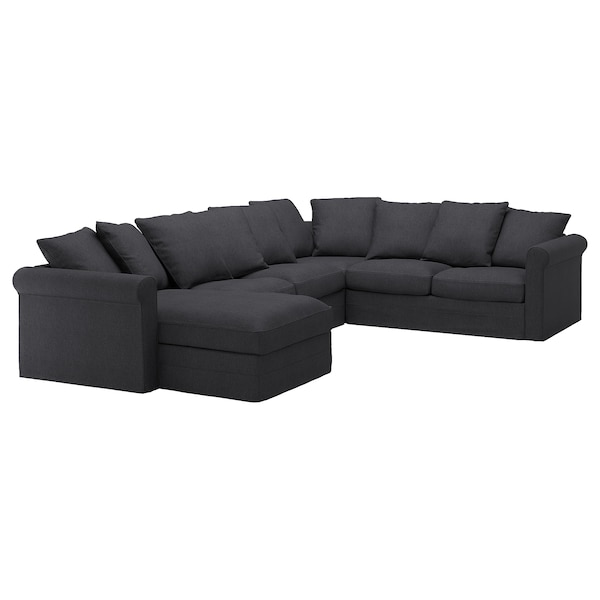 GRÖNLID غطاء كنبة زاوية، 5 مقاعد, مع أريكة طويلة/Sporda رمادي غامق