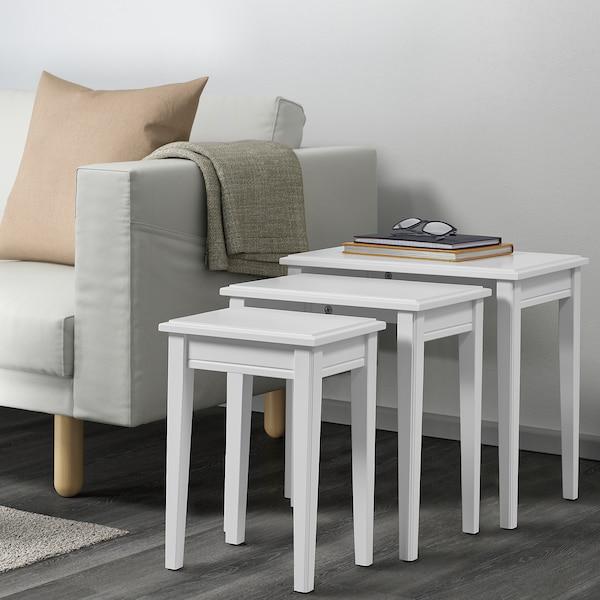 GRUNDSUND Nest of tables, set of 3, white