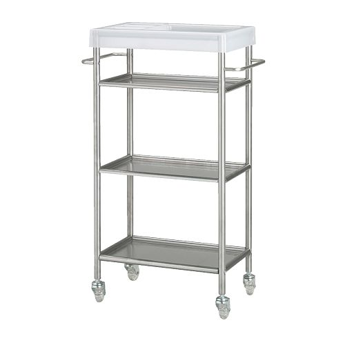 GRUNDTAL Trolley   Easy to move - castors included.  Removable shelves, easy to clean.