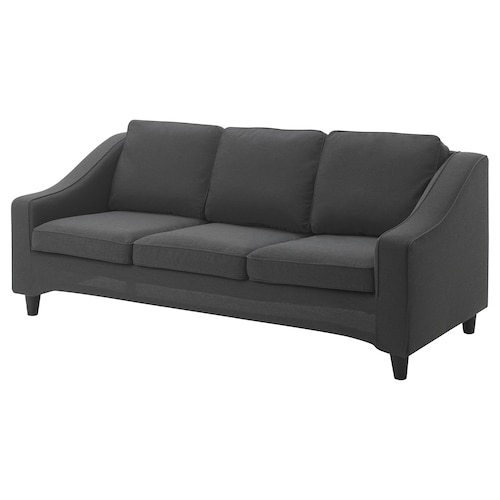 GRYTTBY cover 3-seat sofa Knisa dark grey