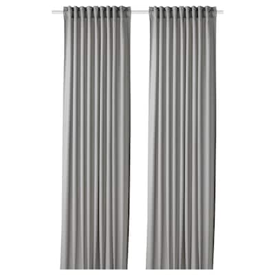 GUNNLAUG Sound absorbing curtain, grey, 145x300 cm