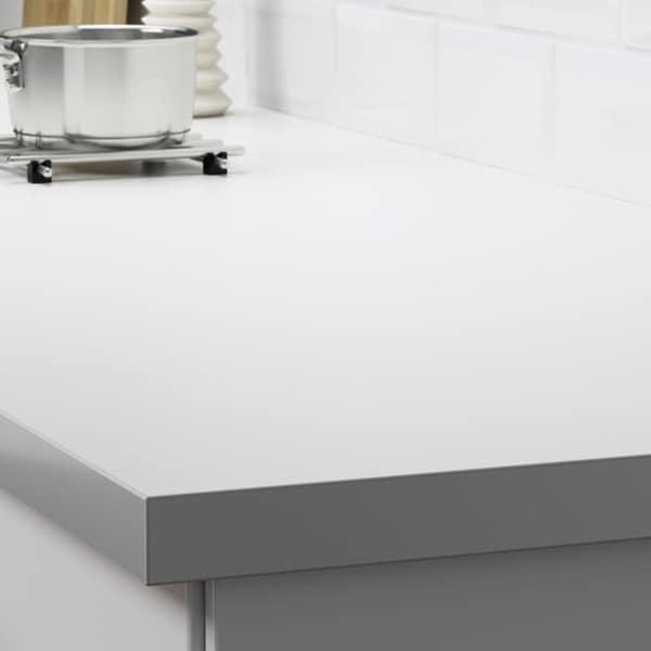 HÄLLESTAD worktop, double-sided white aluminium effect/with metal effect edge laminate 246 cm 63.5 cm 3.8 cm