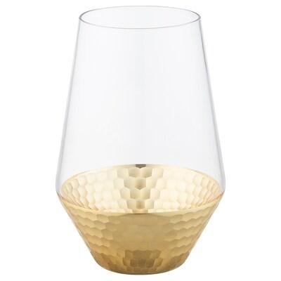 HÅGKOMST Vase, glass/gold-colour, 20 cm