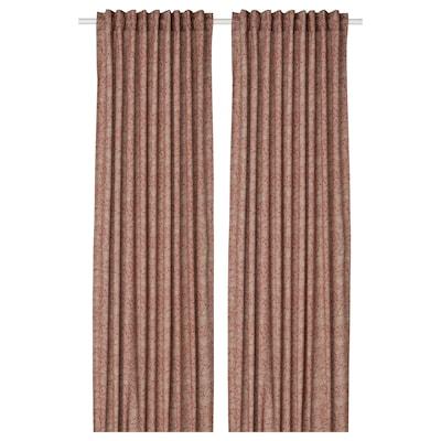 HAKVINGE Curtains, 1 pair, dark brown-red/leaf patterned, 145x300 cm