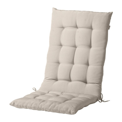 HÅLLÖ Seat/back cushion, outdoor   Ties and a strap keep the seat/back cushion firmly in place on the chair.