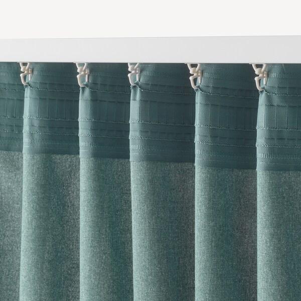 HANNALENA Room darkening curtains, 1 pair, green-blue, 145x300 cm