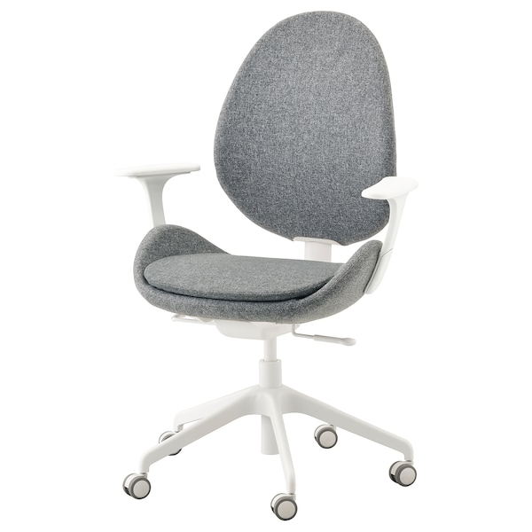 Office Chair With Armrests HattefjÄll Gunnared Medium Grey White