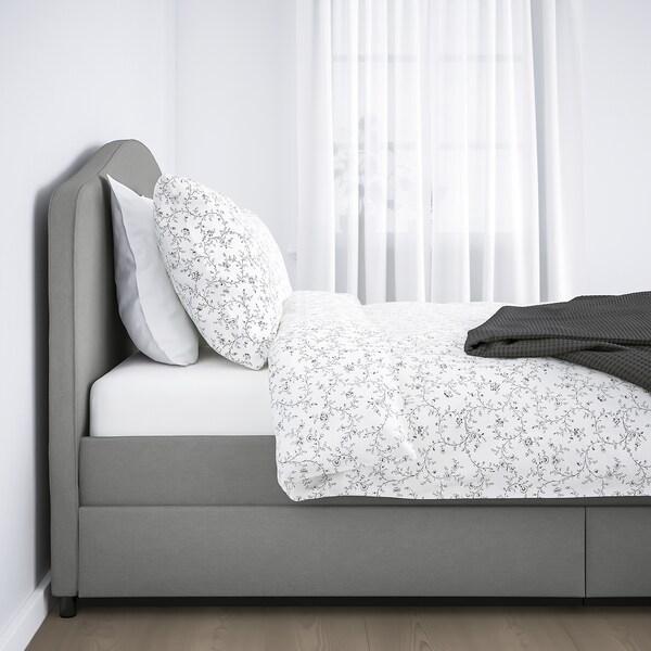HAUGA Upholstered bed, 4 storage boxes, Vissle grey, 180x200 cm