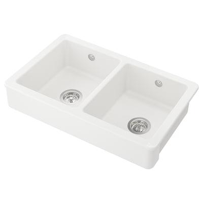 HAVSEN حوض، قسمان بواجهة بارزة, أبيض, 82x48 سم