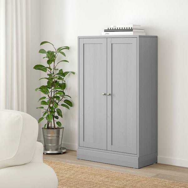 HAVSTA Cabinet with plinth, grey, 81x37x134 cm