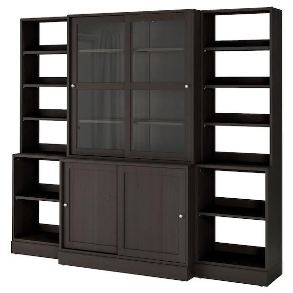 HAVSTA Storage comb w sliding glass doors, dark brown, 243x47x212 cm