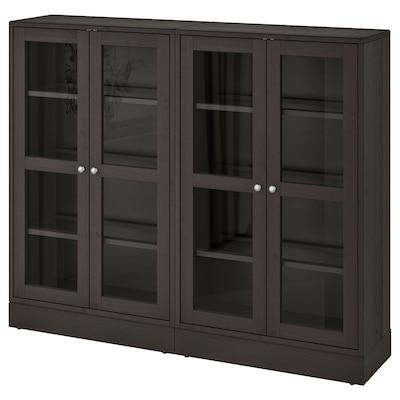 HAVSTA Storage combination w glass doors, dark brown, 162x37x134 cm