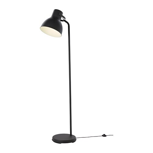 HEKTAR Floor lamp   The oversized lamp head gives both a good concentrated light for reading and good general light for smaller areas.