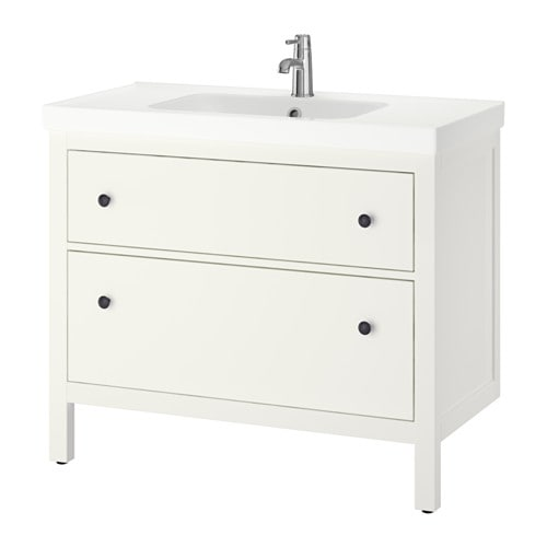 HEMNES / ODENSVIK Wash-stand with 2 drawers   Smooth-running and soft-closing drawers with pull-out stop.