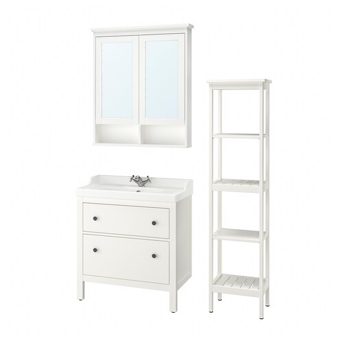 HEMNES / RÄTTVIKEN bathroom furniture, set of 5 white/Runskär tap 82 cm 60 cm 49 cm 89 cm