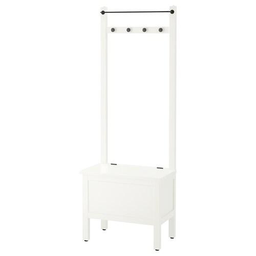 HEMNES storage bench w towel rail/4 hooks white 64 cm 37 cm 173 cm