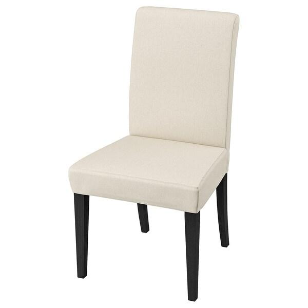 HENRIKSDAL Chair, dark brown/Linneryd natural