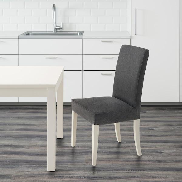 HENRIKSDAL Chair, white/Dansbo dark grey