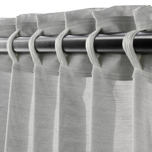 HILJA Curtains, 1 pair, grey, 145x300 cm
