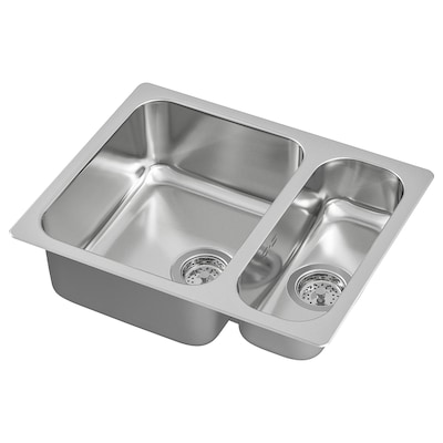HILLESJÖN Inset sink 1 1/2 bowl, stainless steel, 58x46 cm