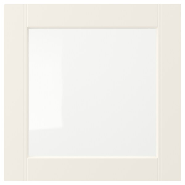 HITTARP glass door off-white 39.7 cm 39.7 cm 1.8 cm