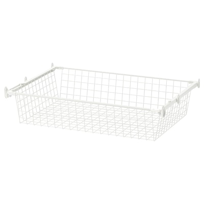 HJÄLPA Wire basket with pull-out rail, white, 80x55 cm
