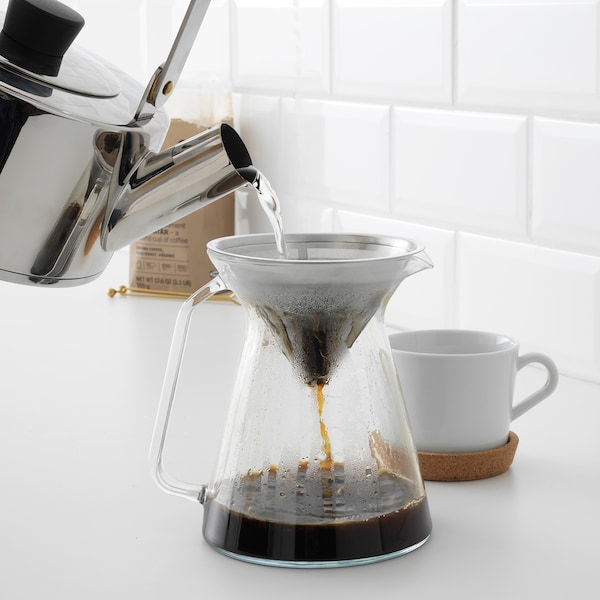 HÖGMODIG Coffee maker for drip coffee, clear glass/stainless steel, 0.6 l