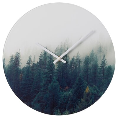 HOJADE Wall clock, forest/glass, 30 cm