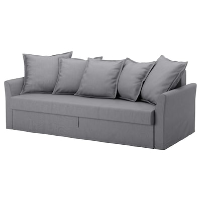 HOLMSUND Three-seat sofa-bed, Nordvalla medium grey