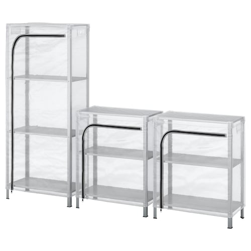 HYLLIS shelving units with covers transparent 180 cm 27 cm 74 cm 140 cm