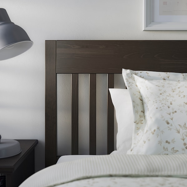 IDANÄS Bed frame, dark brown/Leirsund, 180x200 cm