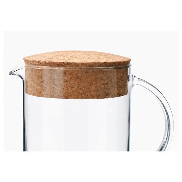 IKEA 365+ ابريق مع غطاء, زجاج شفاف/عازل حرارة من الفلّين, 1.5 ل