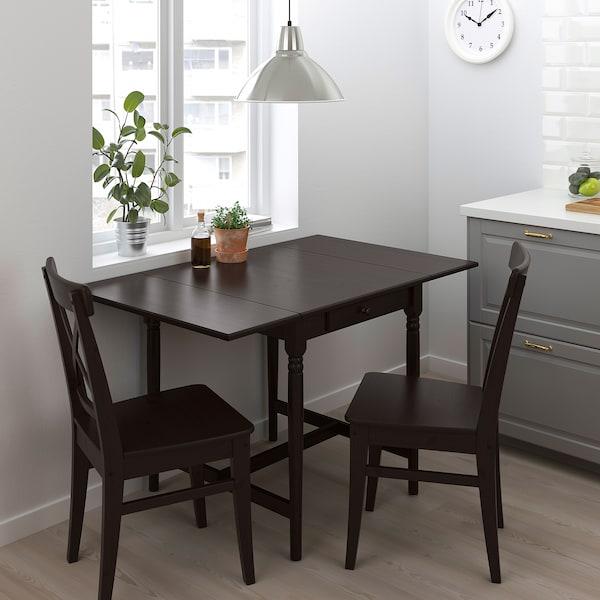 INGATORP / INGOLF Table and 2 chairs, black-brown/brown-black